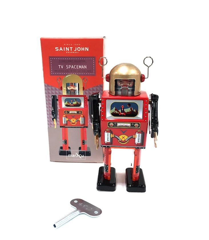 Mechanical Wind-Up Tin Toy TV Spaceman