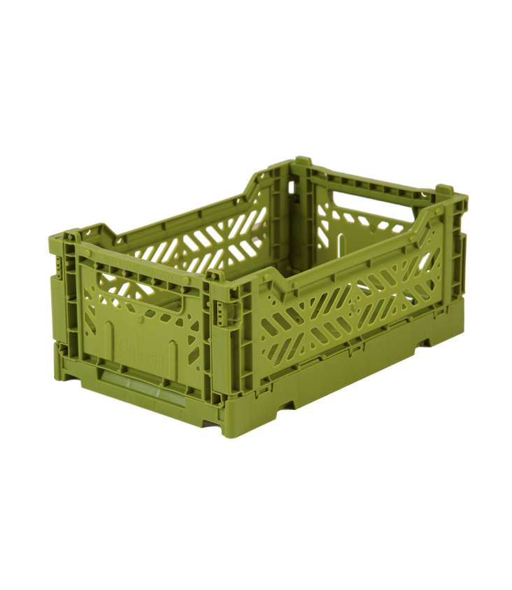 Folding crate small Olive