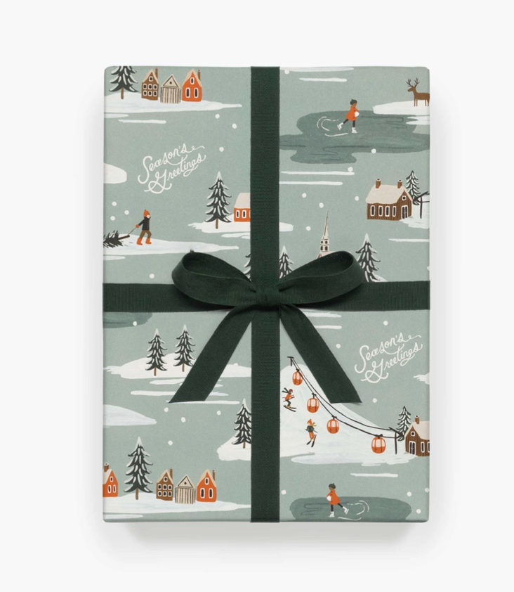 Wrapping Sheets Holiday Snow Scene