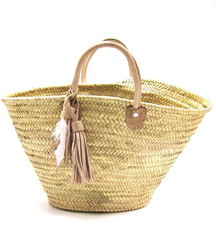 Straw Tote Leather Detail Gross