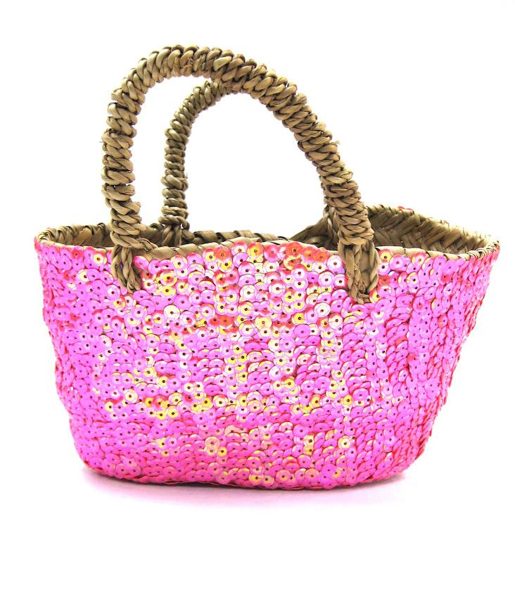 Straw Tote Sequins