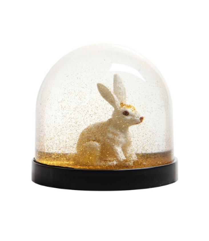 Snow Globe Rabbit Gold
